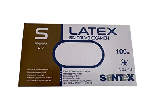 BSPOT Guantes de Latex , Talla S - Para examen , sanitario , higiene , limpieza , alimentación , desechables y sin polvo. Caja 100 Unidades