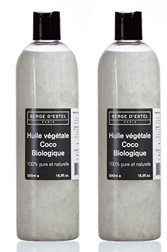 Huile de Coco BIO 1L. Première Pression à Froid. Huile de Coco Biologique 100% Pure Huile de soin Peaux Sèches Huile de Soin Cheveux Secs. Nourrissant Adoucissant Odeur Sucrée.