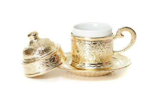 Set da caffè turco in rame formato da tazzina ottomana per espresso e piattino oro