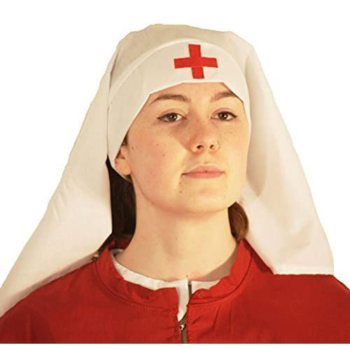Victorian-WW1-The Great War-The Crimson Field NURSES HEADDRESS WITH RED CROSS DETAIL ONE SIZE FITS ALL