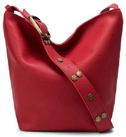 HAYEDF Cubo de remache, tocados, cuero de vaca bolso de la mujer bolso de cuero, bolso de hombro Mensajero,0,rojo