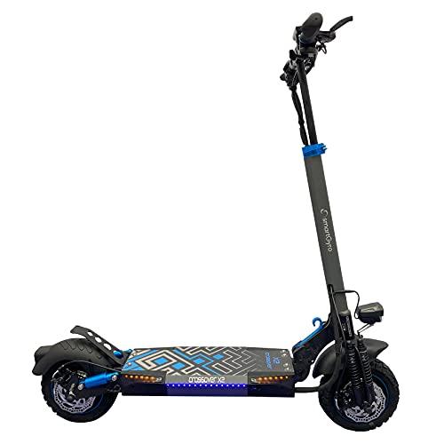 SmartGyro CrossOver X2 - Patinete Eléctrico con tracción total de 1600 W, 2 motores de 800 W, 3 velocidades, hasta 45 Km de autonomía, Suspensiones de doble Amortiguador, Intermitentes, Leds, Negro