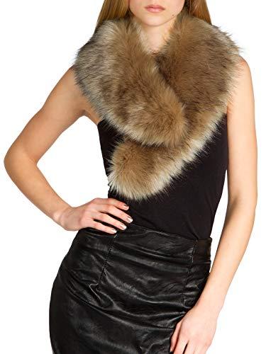 Caspar STO001 Cuello de Piel Sintética para Mujer Bufanda de Invierno, Color:marrón, Talla:Talla Única