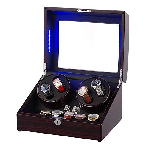 AMAFS Enrollador de Reloj Giratorio automático 4 + 6 almacenamientos de Cuero Caja de bobinado de Madera LED Luz Azul 5 Modos de rotación Pintura de Piano Festival