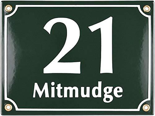 Sosenco Hausnummerschild Hausnummer mit Straßenname - 20x15 cm - Keramik Emaille - Wetterfest - Personalisiert - Grün