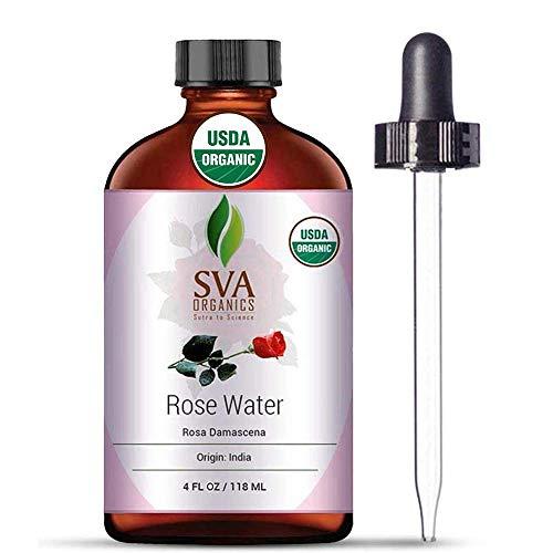 USDA Certified Organic Rose Water Facial Toner (118 ml) 4 Oz - 100% Pure Natural, Unrefined by SVA Organics | Aromatherapy Reduce Dark Circles, Pores, Wrinkle, Moisturizer, Skin Care