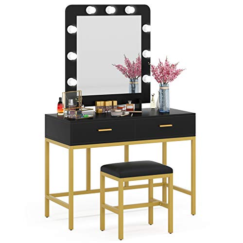 Tribesigns Vanity Table Set with Lighted Mirror, Makeup Vanity Desk with 9 Lights, Cushioned Stool and 2 Drawers for Women Girls, Dressing Table for Bedroom, Black/Black