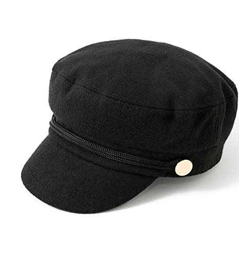 accsa Womens Fashion Newsboy Cap Bakerboy Cabbie Gatsby Pageboy Visor Beret Hat Black