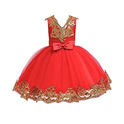 Sequin Bowknot Tutu Red Color Gown