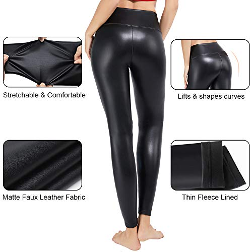Tagoo Faux Leather Leggings for Women Sexy Black High Waisted Pleather Pants