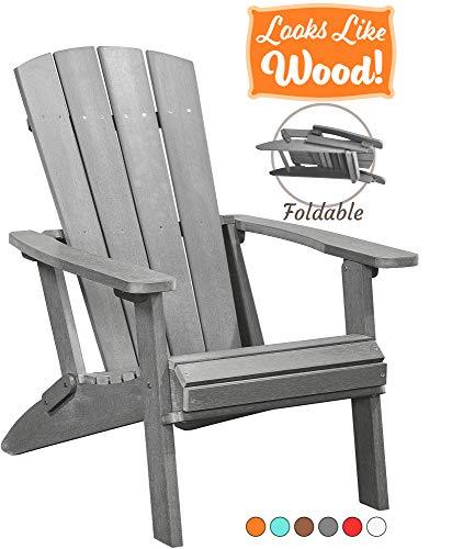 PolyTEAK Modern Oversized Folding Poly Adirondack Chair, Stone Gray | Adult-Size, Weather Resistant,...