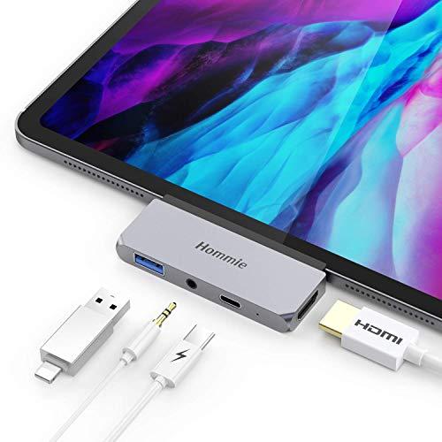 Hommie USB C Hub, 4 in 1 Aluminium Typ C Adapter mit 4K HDMI, USB C PD Aufladung, USB 3.0 und 3,5mm Audioausgang, Kompatibel mit iPad Pro 2018/2020, MacBook Pro, Microsoft Surface Go usw. Grau