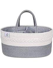 Lilon Organizador de carrito de pañales para bebés, 100% lona de algodón, canasta de almacenamiento de pañales portátil, caja de almacenamiento para bebés y caja de almacenamiento para el automóvil