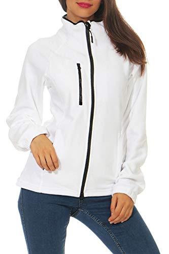 Happy Clothing Damen Fleecejacke Microfleece Outdoor-Jacke ohne Kapuze mit Kragen Dunkelblau Schwarz S M L, Größe:XL, Farbe:Weiß