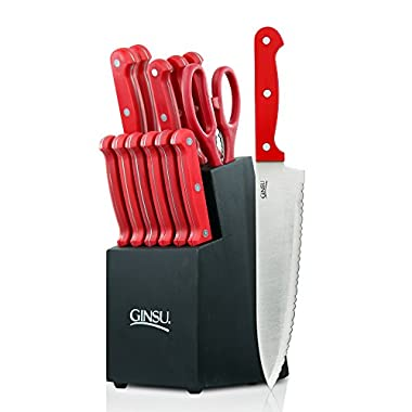 Ginsu Essential Series 14-Piece Stainless Steel Serrated Knife Set – Cutlery Set with Red Kitchen Knives in a Black Block, 03887DS