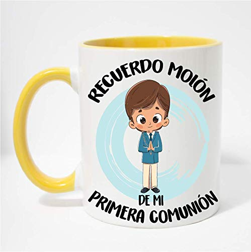 FUNNY CUP Taza Recuerdo molón de mi Primera comunión. Regalo Divertido para niño. (Amarillo)