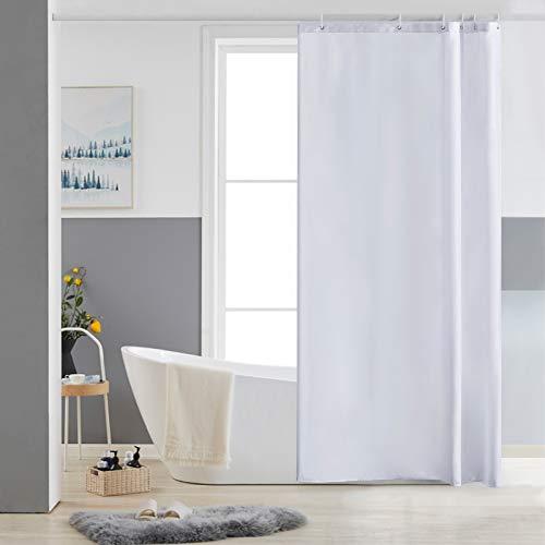 Furlinic Schmaler Duschvorhang für Eck Dusche & Kleine Badewanne, Badvorhang Textil aus Polyester Stoff schimmelresistent Wasserabweisend & Waschbar, Weiß 85x180 mit 6 Duschvorhangringen.