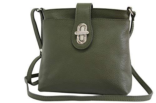 AMBRA Moda Damen echt Ledertasche Handtasche Schultertasche Umhängtasche Citybag Girl Crossover GL007 (Olivgrün)