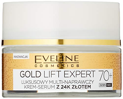 Eveline Cosmetics Gold Lift Expert - Crema reafirmante para día y noche 70+ con oro de 24 quilates, 50 ml