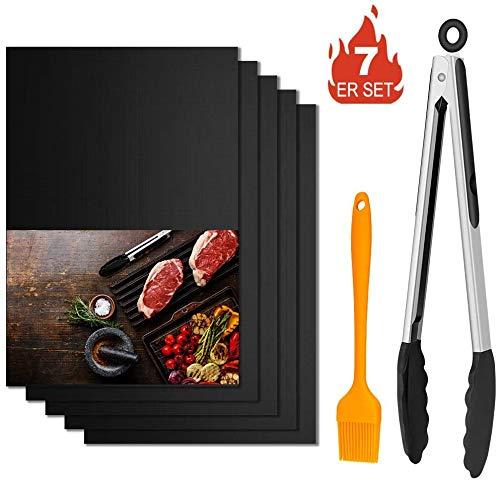 """Winzwon BBQ Grillmatte, Wiederverwendbar Grillmatten, Backmatte und BBQ Antihaft Grillmatte für Fleisch, Fisch und Gemüse 40x33 cm (5 Matten +1 Pinsel + 12\"""" Clip)"""