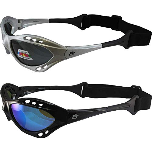 2 Pair Birdz Seahawk Polarized Sunglasses Floating Jet Ski Goggles Sport Kite-Boarding, Surfing, Kayaking,1 Black with Blue Lenses and 1 Silver with Smoke Lenses