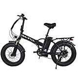 Adult Electric Bike, 20 Inch Fat Tire Folding Electric Bicycles 48V 750W Motor 13AH Lithium-Ion Battery, Beach Snow Hunting City 7 Speed Cycling E-Bikes for Women Men (Black)