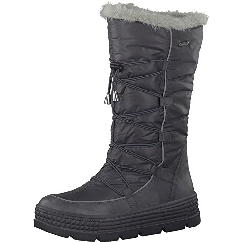 Tamaris Damen Winterstiefel 26631-31,Frauen Winter-Boots,Fellboots,Fellstiefel,wasserabweisend,Blockabsatz 5cm,Graphite,EU 41