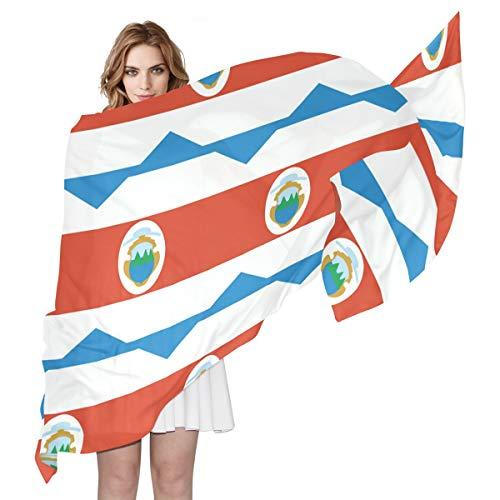 Bandera de Costa Rica para mujer, bufanda de seda para mujer, 70 cm de largo x 89 cm de ancho