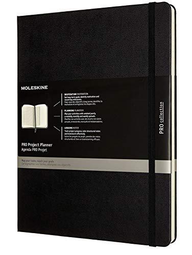 Moleskine - Pro Projektplaner un Notizbuch, Professioneller Terminkalender, Produktivität für Projekte und Projektmanagement, Hardcover, Format 19 x 25 cm, Farbe schwarz, 288 Seiten