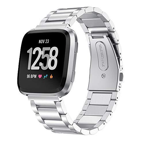 XZZTX Compatibel voor Fitbit Versa Horloge, Metalen Effen RVS Horlogebanden Vervangende Armband voor Vrouwen Mannen voor Fitbit Versa Lite SmartWatch