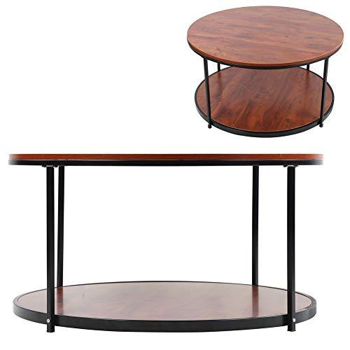 AYNEFY - Mesa redonda con plato, mesa redonda de café de teca con vetas de madera retro de 35,3 pulgadas