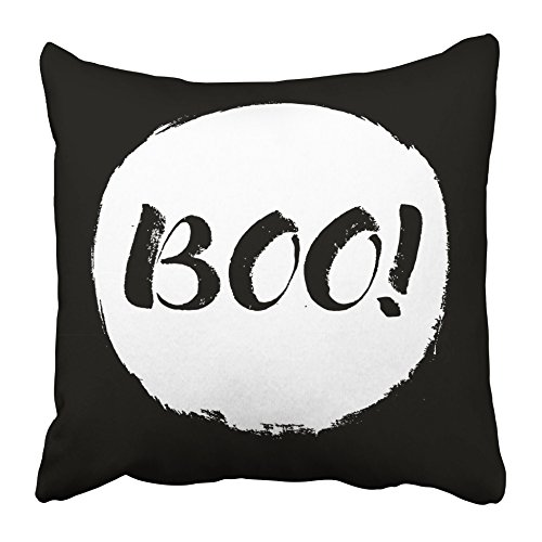 Emvency Decorative Throw Pillow Covers Cases Orange Halloween Calligraphy Letters in on Grunge Boo Quote White Circle Black Backdrope Emblem 18x18 Inches Pillowcases Case Cover Cushion Two Sided