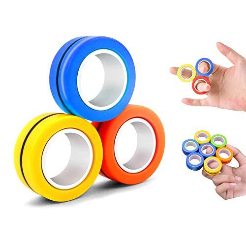 CaLeQi Magnetische Finger Ring Stress Relief Spielzeug-Magnetische Armband Ring Entpacken Spielzeug Magie Ring Requisiten Werkzeuge Dekompression Spielzeug Finger Joint Aktivität
