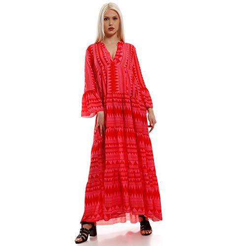 YC Fashion & Style Damen Boho Maxikleid Strandkleid Freizeit Sommer oder Herbstkleid Kleid Hippie Kleid Plus Size Made in Italy (One Size, Pink)