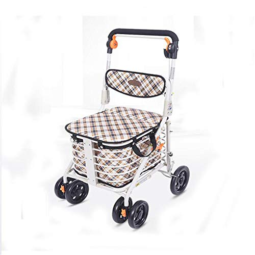 Einkaufswagen Leichter Rollator Klappbarer fahrbarer Rollator Höhenverstellbar mit gepolstertem Sitz Underseat Basket Einkaufswagen mit 4 Rädern für ältere Menschen