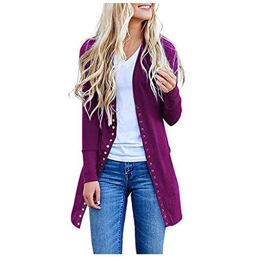 TEFIIR Damen Strickjacke mit Knöpfen Mode Einfarbig Langarm Knit Shirt Geld Beiläufige Lose Jacke Tops Geeignet für Freizeit, Dating und Urlaub