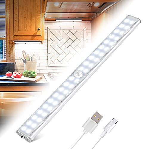 Luz Armario 40 LED, USB Recargable Luces LED Armario con Sensor Movimiento, 3 Modos Lámpara LED de Armario con Tira Magnética, para Armario, Cocina, Escalera, Pasillo y Emergencias
