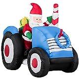 COSTWAY 170cm Weihnachtsmann aufblasbar, Weihnachtsfigur Leuchtend, Weihnachtsdekofigur auf LKW, Weihnachtsdeko im Freien, Ladendeko, Santa Claus, 2 LEDs integriert