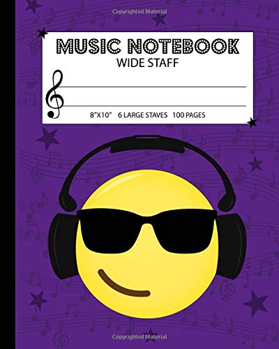Music Notebook: Wide Staff Manuscript Paper Notebook For Kids - 6 Large Staves Per Page (8'x10' - 50 Sheets/100 Pages) Purple Cover