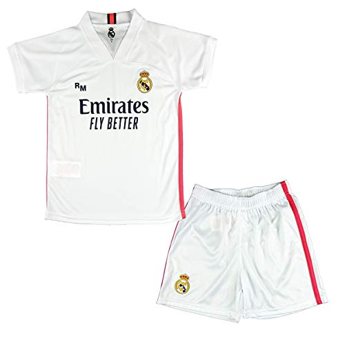 Real Madrid CF Conjunto Camiseta y Pantalón Infantil Primera Equipación Temporada 2020-21 - Producto Oficial Licenciado -Color Blanco (7-8 años, Blanco)