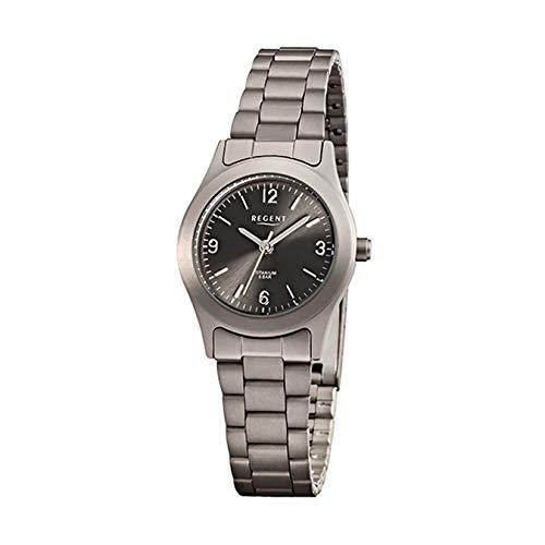 Regent de mujer reloj de pulsera elegante Analog de titanio pulsera gris Reloj de cuarzo esfera Antracita Negro urf856