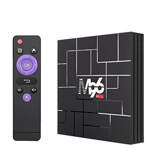 Huante M96 - TV Box Android 9.0 4G + 32G 5G Bi-banda terminal WiFi DEcodificador digital TV Box con infrarrojos, enchufe europeo