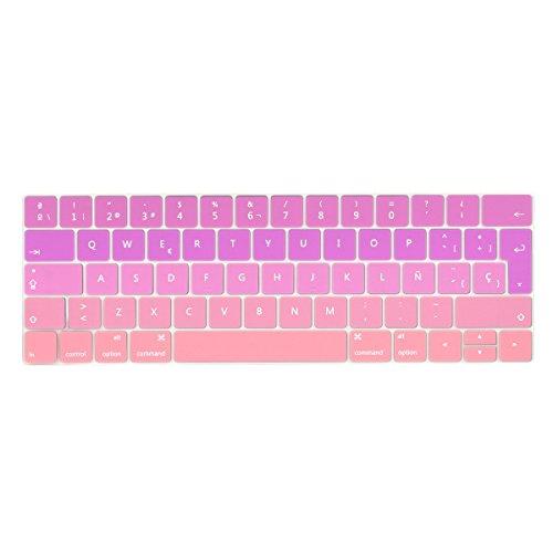 TwoL española Protector Cubierta del Teclado/Keyboard Cover para MacBook Pro 13 15 2016 2017 con Touch Bar A1706 A1707 Silicone Skin (Rosa Gradual)