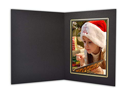 Golden State Art,Acid-Free Cardboard Photo Folder for 5x7 Picture,Pack of 50 Paper Frames,Black with Gold Lining Great for Portraits, Special Events:Graduations, Weddings,Chirsmas,Baby Showers