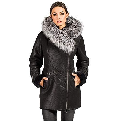 Hollert Dames lamsvachtjas KEONIA winterjas bontjas met capuchon zwart lederen jas echt Merino schapenvacht