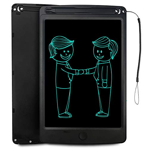 LCD Writing Tablet for Kids and Adults, JONZOO 8.5 Inches Electronic Doodle Board Drawing Pad with Lanyard, Suitable for Home School Office (Black)