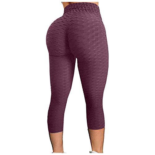 Leggings de compresión para mujer, pantalones cortos de yoga para gimnasio, running, pilates, fitness morado oscuro L