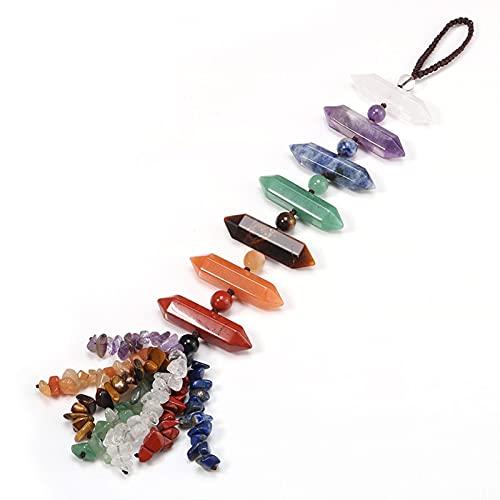 AIflyMi Decoración Colgante de joyería Tejida a Mano, Ornamento de Cristal de 7 Chakra, joyería de Punto de Cabeza de Mano, Colgante de Cristal Natural, Multicolor