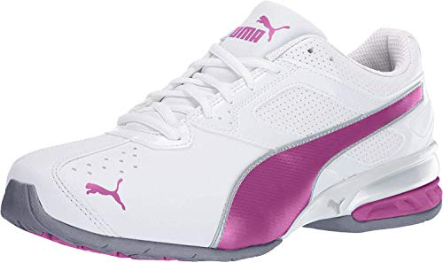 PUMA womens Tazon 6 Fm Cross Trainer Shoe, Puma White/Fuchsia Purple/Puma Silver, 7.5 US