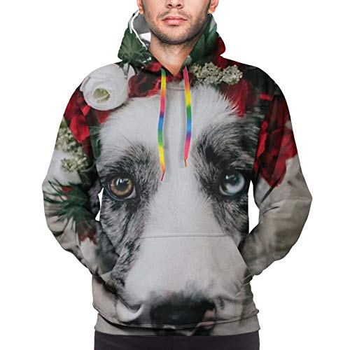 Men'S Hoodie Pullover 3d Dog With Garland Colorful Drawstring Sweatshirt With Pockets Black